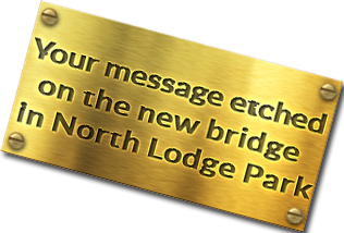 etched brass plaque to sponsor a plank in north lodge park