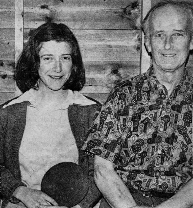 Billy Baker, pictured with daughter Rosemary, keen members of the North Lodgers table tennis team