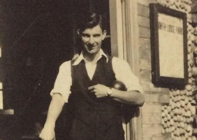 Leslie West – father of Ralph and Ann – outside the North Lodge putting shed where he met their mother Phyllis, daughter of first North Lodge Park groundsman Fred Thurston.