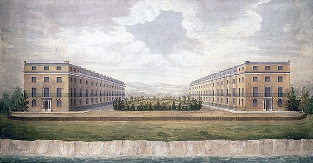 An1825 visualisation of the proposed Goldsmiths Square development of two facing terraces of 16 four-storey dwellings, at Cromer's North Lodge Park.